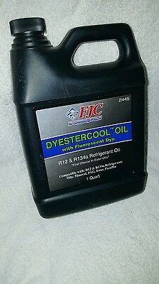 FJC 2445 Dyestercool Refrigerant Oil With Dye R12 R134A Qt Quart 32 oz NEW