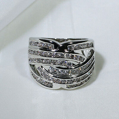 18K White Gold Filled CZ Fashion Jewelry Engagement Wedding Ring R1427 Size 5-10