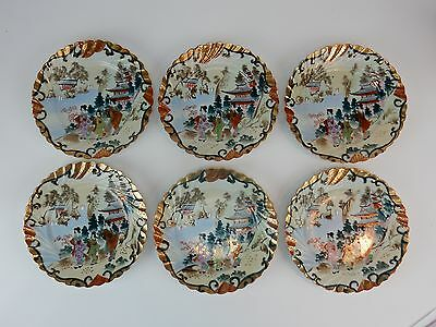 Set of (6) Antique hand Painted Scalloped Rim Kutani Gilt rimmed Plates 7.25""