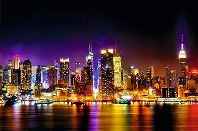 MANHATTAN - REFLECTIONS POSTER - 24x36 NEW YORK CITY NYC LIGHTS 23240