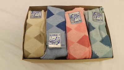 Vtg 12 Pr Lot 70's Argyle Knee High Socks Assorted Colors sz 9-11 NOS USA made