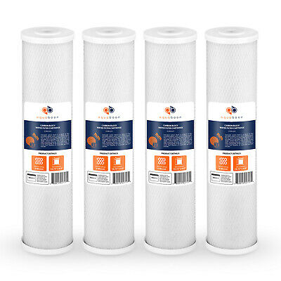 4-PACK of Big Blue 5 Micron Coconut Shell Carbon Block Water Filter Cartridges
