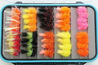 70 Elite Blobs and Blob Boobies boxed , fly fishing flies lures trout cat viva