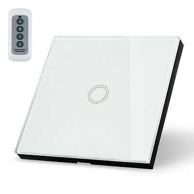 1 Way 1 Gang Glass Panel Wall Light Smart Touch Switch Remote Controller White