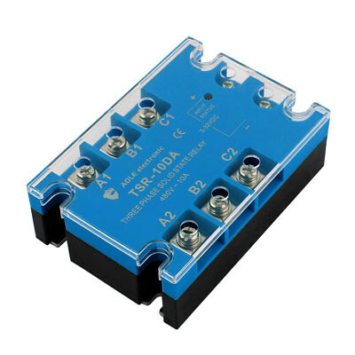 TSR-10DA 3-32VDC to 480VAC 10A Three Phase Solid State Relay Module DC to AC
