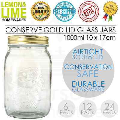 Gold Lid Glass Storage Jar 1000ml Wedding Favour Kitchen Conserve Jam Spice Bulk