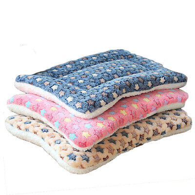 Pet Mat Dog Cat Fleece Blanket Bed Soft Cushion Kennel Cage Pad House Washable
