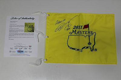 Greg Norman Signed 2011 Masters Flag Psa/dna Authenticated Loa Inscription Rare