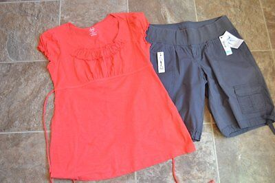 Small S New Maternity Outfit Duo Gray Shorts Orange Knit Top Tee Shirt Cotton