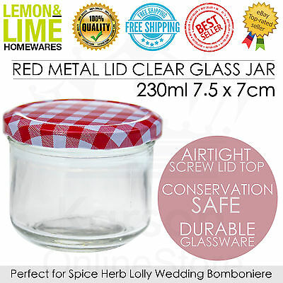 Red Gingham Lid Glass Jar 230ml Storage Conserve Jam Wedding Favour Kitchen Bulk