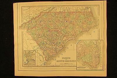 North & South Carolina states Charleston city plan 1894 antique hand colored map