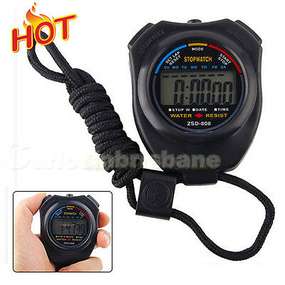 Digital LCD Handheld Stopwatch Chronograph Sports Counter Timer Stop Watch