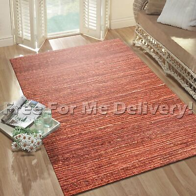 SUMA NATURAL FLATWEAVE JUTE SUNSET RED FLOOR RUG (L) 190x270cm **FREE DELIVERY**