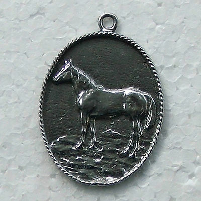 Horse Medallion Pewter Pendant Made in Australia 1 Bail Polished Necklace