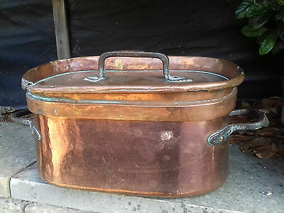 Huge Antique Copper Napoleonic French Daubiere With Lid Signed/dated 1805