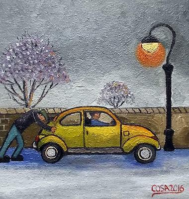 """The Reluctant Beetle : Original 12"""" X 12""""  Northern Art Oil Painting by COSA"""