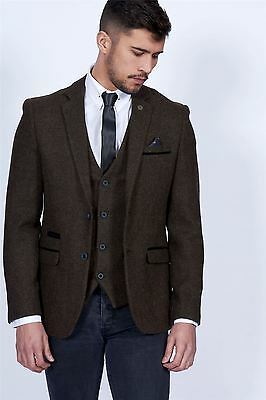 Mens Marc Darcy Designer Brown Tweed Blazer Vintage Style Jacket Size 34-52 Avl
