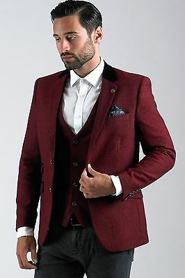 Mens Marc Darcy Designer Wine Red Tweed Herringbone Blazer Tailored Party Jacket