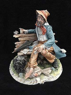 Vintage CAPODIMONTE Porcelain figurine Signed by artist MENEGHETTI ,27 cm height