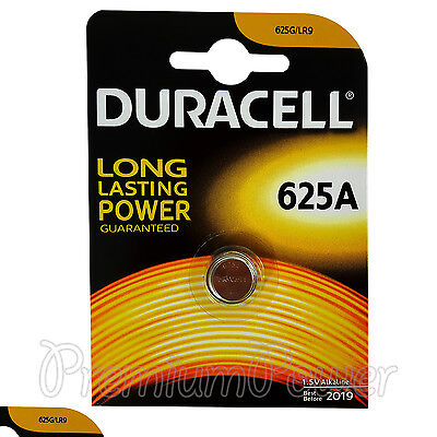 1 x Duracell Alkaline 625A 1.5V battery 625G LR9 EPX625 E625G Key fob EXP:2019