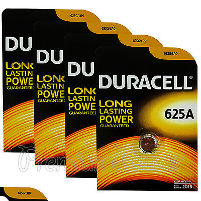 4 x Duracell Alkaline 625A 1.5V batteries 625G LR9 EPX625 E625G Key fob EXP:2019