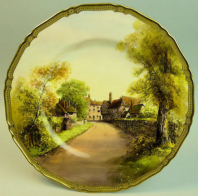 Antique Hand Painted Royal Worcester Porcelain Signed Cabinet Plate Tewkesbury