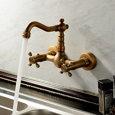 Vintage Solid Brass Wall Mounted Kitchen Faucet Mixer Taps Two Handles Hottest
