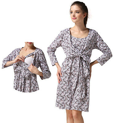 Floral Maternity Dresses Breastfeeding Nursing Dress Long Sleeve Fashion M-XXL