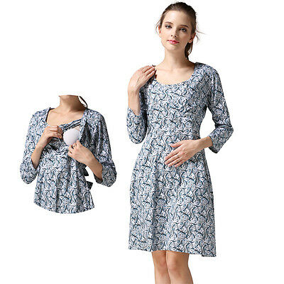 Women's Maternity Dresses Long Sleeve Floral Breastfeeding Nursing Dress M-XXL