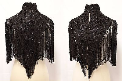 ANTIQUE VICTORIAN 1880's MOURNING BLACK JET BEADED FRINGED CAPELET CAPE MANTLE