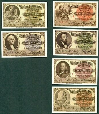 Columbian Exposition Ticket Reprints, 6 Different, Vf