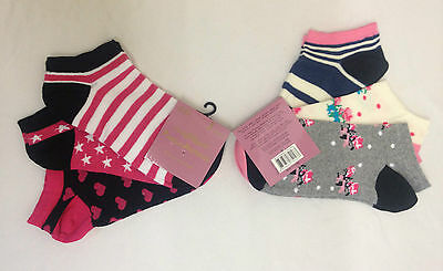3 Pairs Ladies Womens Multi Floral Stripe Trainer Ankle Socks 1 Size 4-6.5 New
