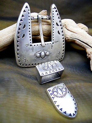 Southwest/Western Fashion 3 pc. Metal Buckle Set-Antq Silver Finish-Fits 3/4""