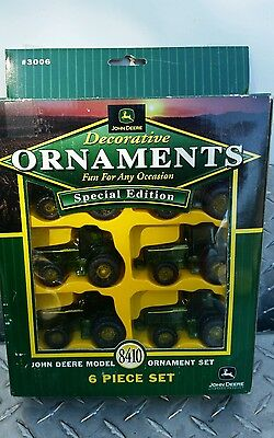 John deere 8410 Tractor ornament set of 6 new Free ship party tree htf! Nice!