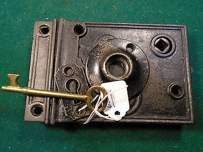 VINTAGE READING HARDWARE R.H.C. RIM LOCK w/KEY, KEEPER & BOTH ESCUTCHEONS (6365)