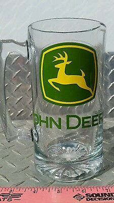John deere green logo Tractor Glass Beer Mug Stein glass cup brand new free ship