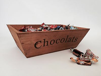 Wooden Storage Box French Chocolate Presentation Trug Shabby Vintage Style Crate