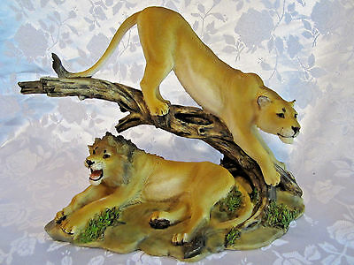 Lion and Lioness Figurine Resin Jungle Animals Wild Cats