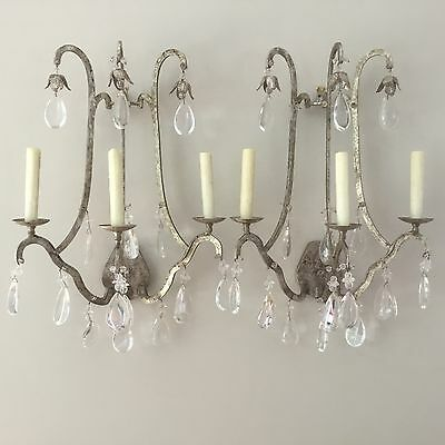 HOLLY HUNT French Silver Leaf Iron Crystal Wall Sconces Sconce Pair