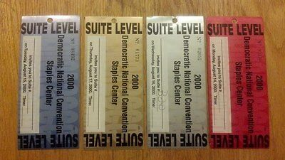 2000 Democratic National Convention FOUR VIP Suite Tickets Al Gore Joe Lieberman