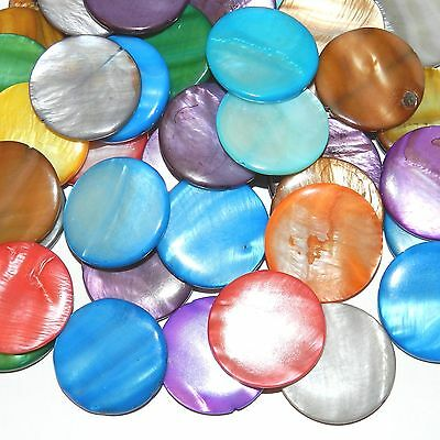 MPL1619 Assorted Color Mother of Pearl 30mm Flat Round Gemstone Shell Beads 24pc