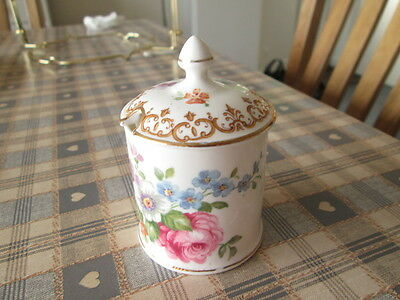 Crown Staffordshire Floral Lidded Mustard Pot