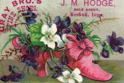 1870s-80s Cray Bros Fine Boots and Shoes J M Hodge Victorian Trade Card F17