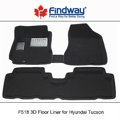 Black All Weather 3D Car Floor Mats/Liners for 2005-2009 Hyundai Tucson