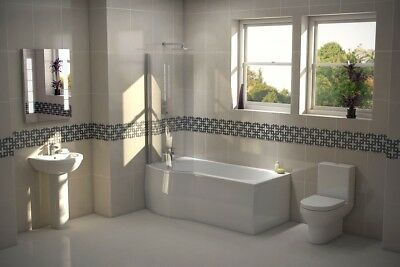 NEW Designer Shower Bath Bathroom Suite with P Shaped Right Hand Bath 1675mm