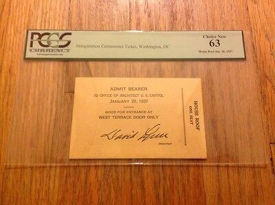 1937 President FRANKLIN ROOSEVELT Inauguration Architect of Capitol Ticket PCGS