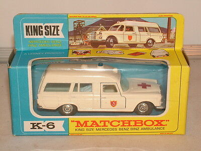 Matchbox Kingsize No K-6 Mercedes Benz Binx ambulance ex shop stock MB