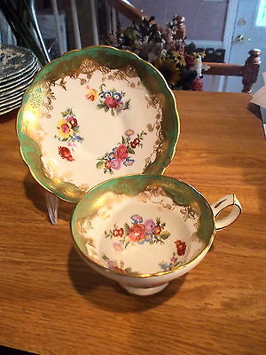 Hammersley Cup & Saucer - Gold Flowers On Green, Florals