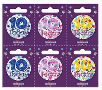 Small TEN year old Birthday Badges ALL AGES available Holographic BOY GIRL