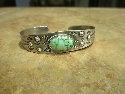 OLD Fred Harvey Era Navajo Sterling Silver SPIDER WEB Turquoise Cuff Bracelet